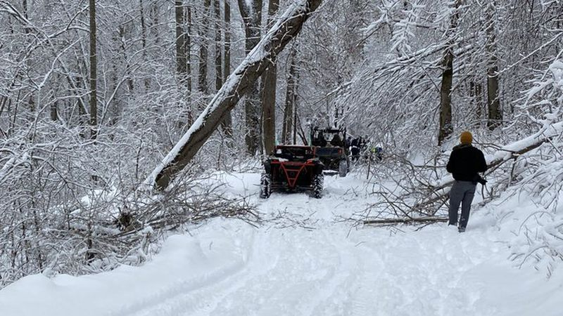 The Bluegrass Emergency Response Team is out clearing trees from roads in Jackson County....