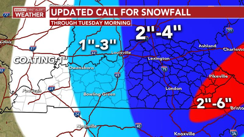 As snow showers increase overnight and last through Monday and into early Tuesday morning...