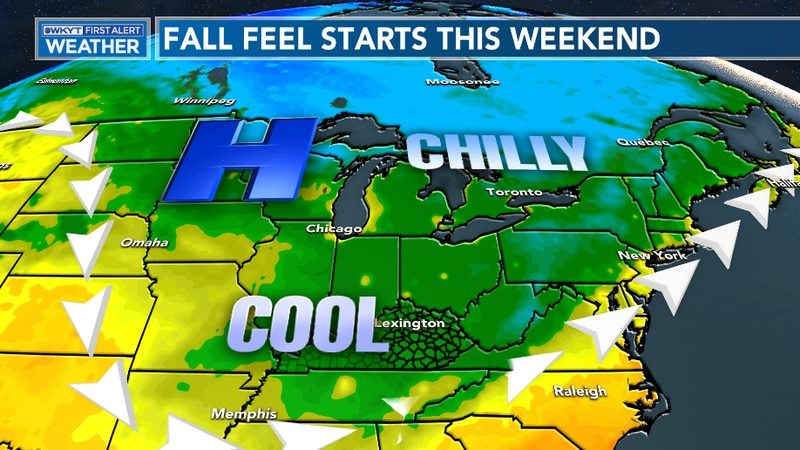 A Fall feel arrives for the weekend with plenty of sunshine