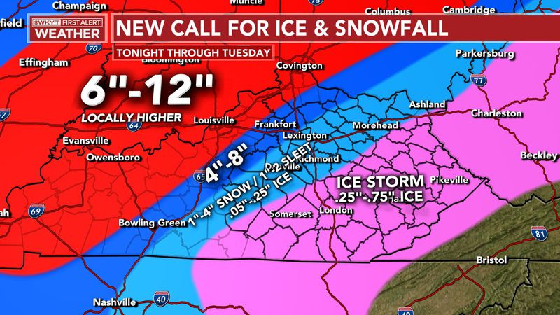 Here is a look at our latest call for Snow and Ice. Central Kentucky will be right on the...