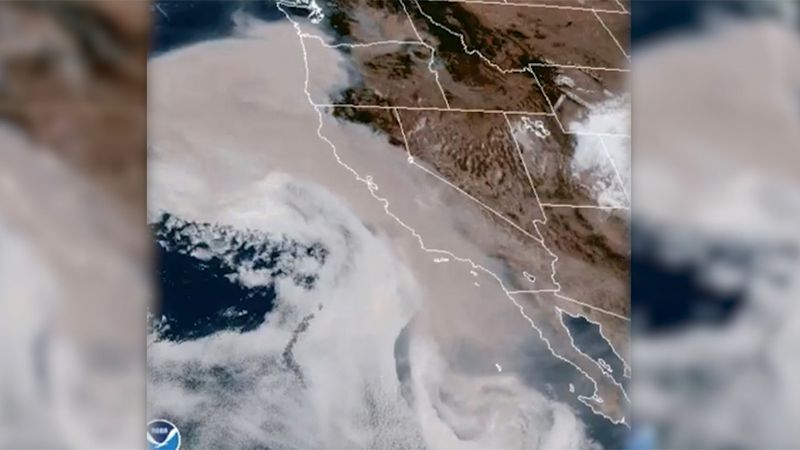 A view from space shows wildfire smoke in the West.