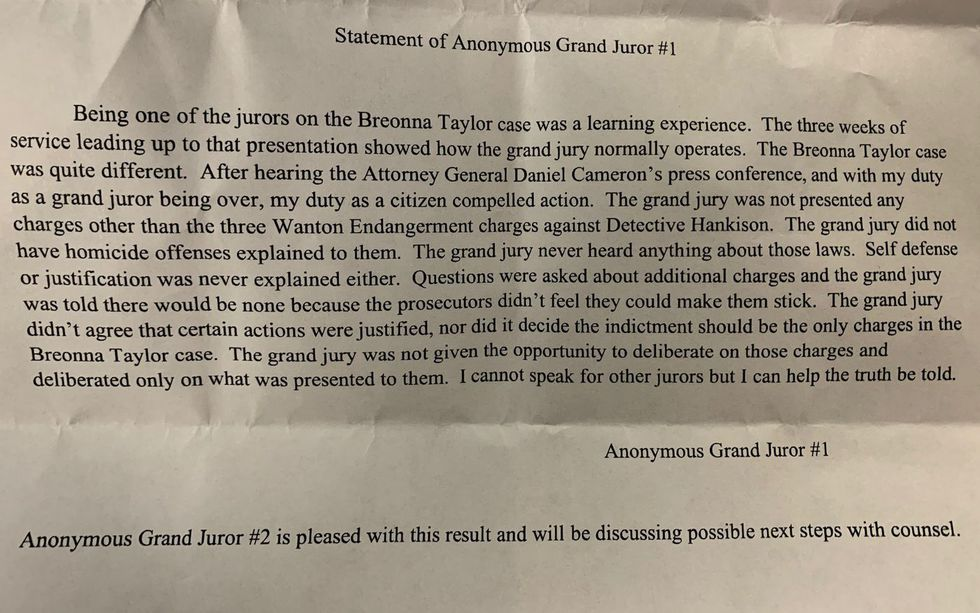 For the first time Tuesday, the anonymous grand juror in the Breonna Taylor case is sharing...