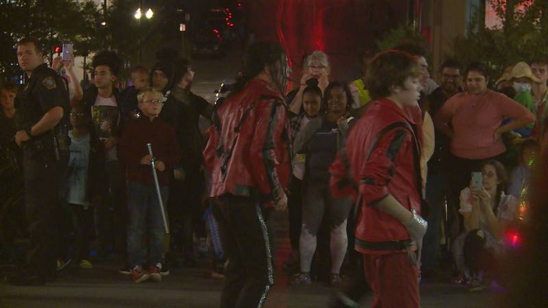 Dancers re-enacted the Thriller music video on Main Street in downtown Lexington on Sunday,...
