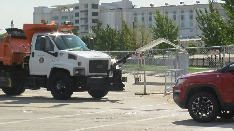 Trucks and fences line the area around Churchill Downs as protests are expected over the weekend.