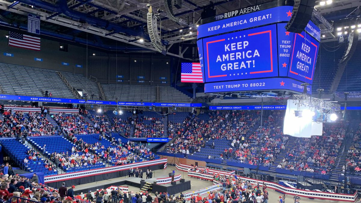 Trump supporters enter Rupp Arena ahead of the President's visit. (Garrett Wymer/WKYT)
