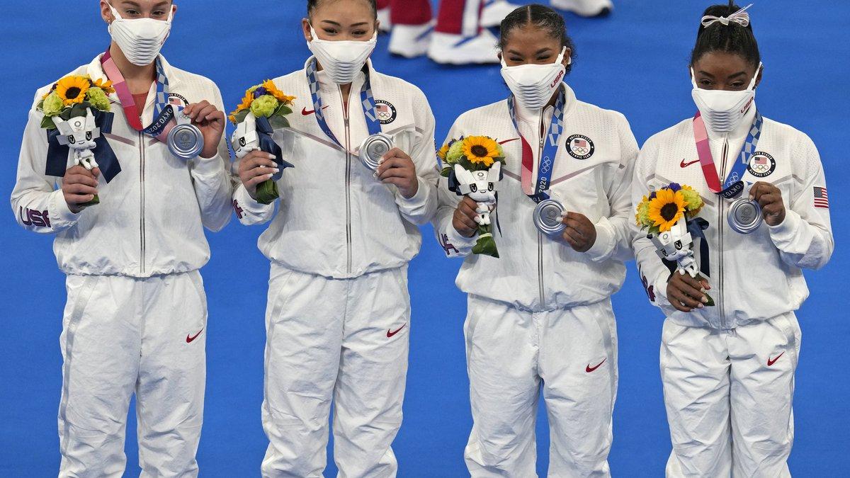United States' artistic gymnastics women's team members, from left, Grace McCallum, Sunisa Lee,...