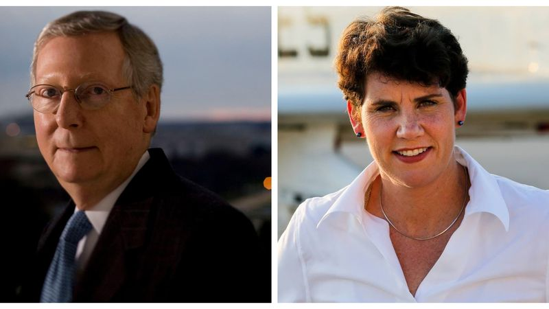 Republican Sen. Mitch McConnell and Democratic challenger Ret. Lt. Col. Amy McGrath