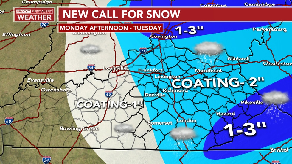 Here is a look at the latest snowfall forecast that beings from Monday afternoon and lasts...