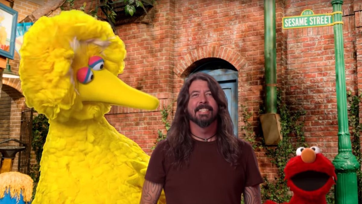 "Big Bird, David Grohl and Elmo sing there way across America in the ""Here We Go Song."" (Source: Sesame Street/PBS)"