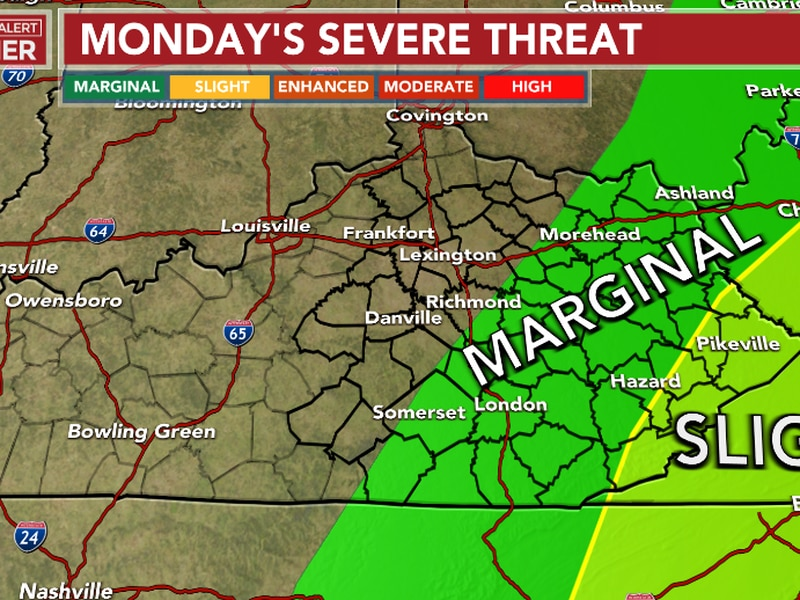 Strong/damaging winds will be the main threat Monday as a line of strong to severe storms sweep...