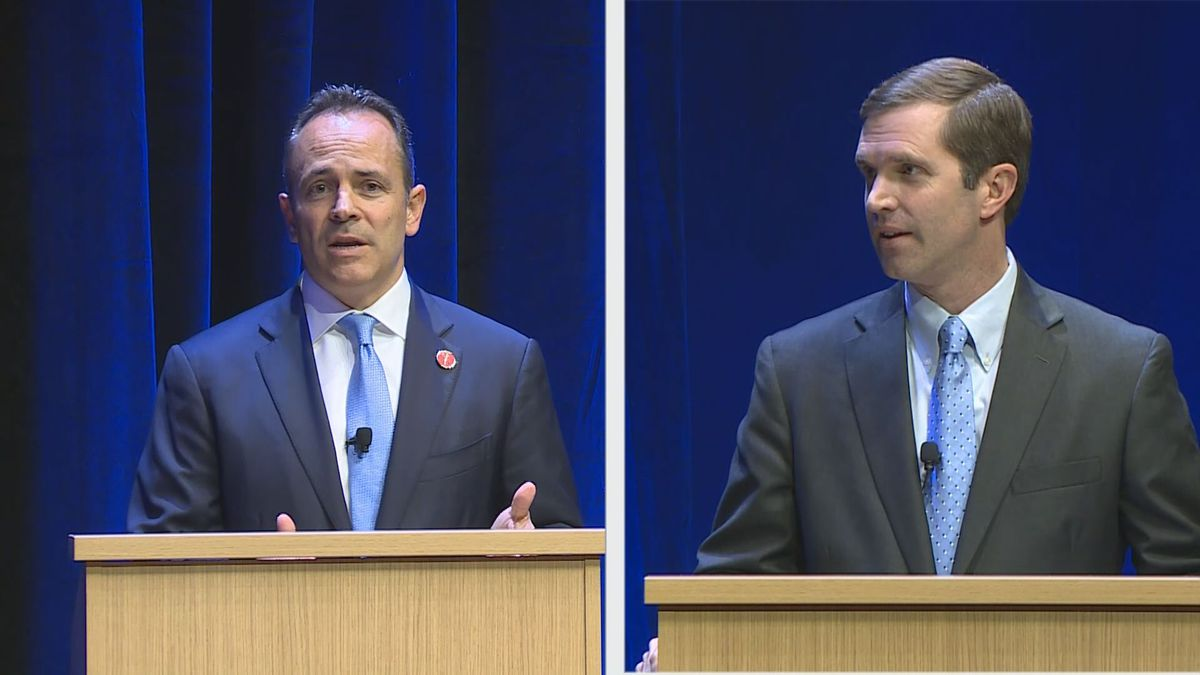 Matt Bevin and Andy Beshear took part in a contentious debate in Lexington on Tuesday. (Gray Television)