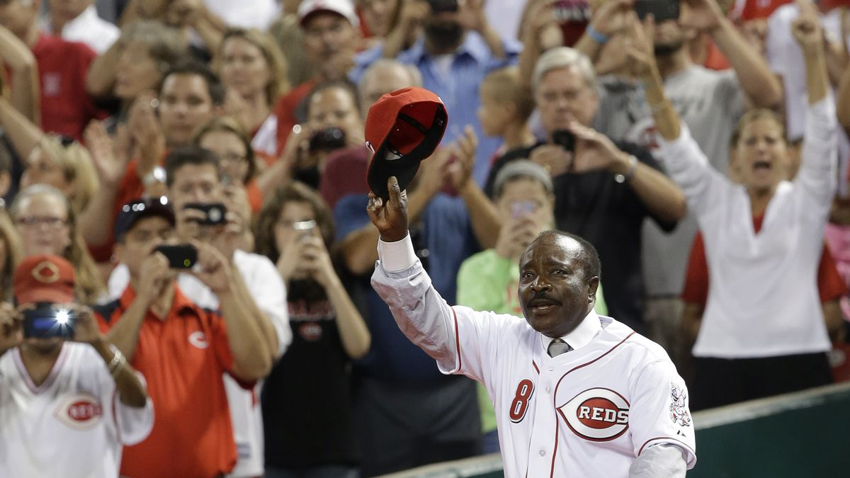 Hall of Fame second baseman Joe Morgan walks onto the field during ceremonies honoring the starting eight of the 1975-76 World Series-champion Cincinnati Reds following a baseball game between the Reds and the Los Angeles Dodgers, Friday, Sept. 6, 2013, in Cincinnati.