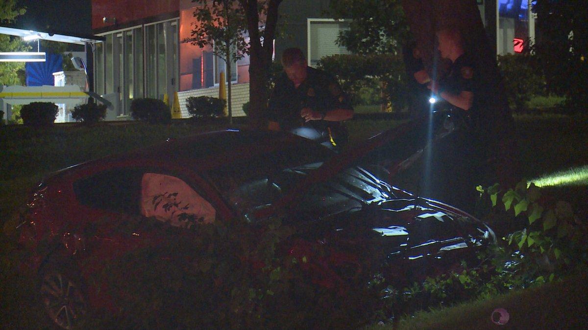 The crash happened around 11:30 p.m. Saturday.