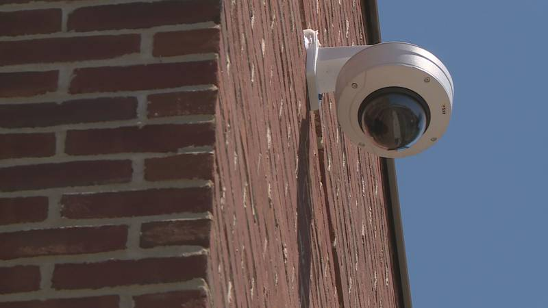A surveillance camera on the campus of Eastern Kentucky University in Richmond.