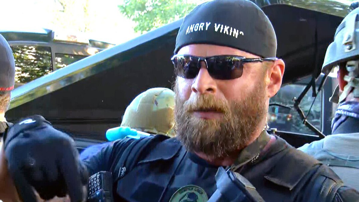 """Dylan Stevens, who calls himself """"The Angry Viking,"""" said his supporters are pro-gun and..."""