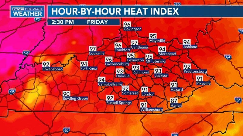 Heat Index values climb to the mid-90s again.