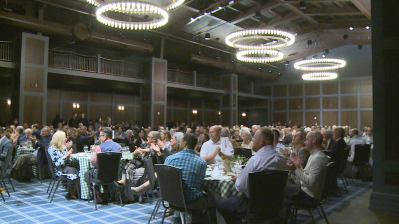 Dinner attendees watched on as Mayor Linda Gorton spoke at the Tee Off Dinner for the Alano...