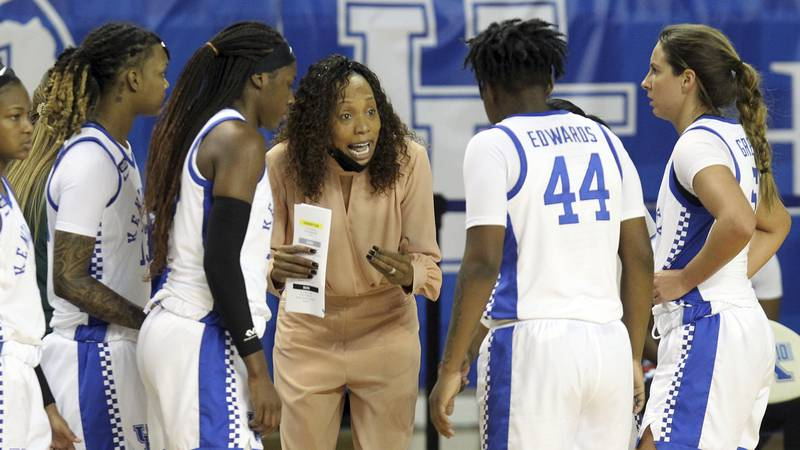 Kentucky head coach Kyra Elzy instructs her team during a time out in the second half of an...