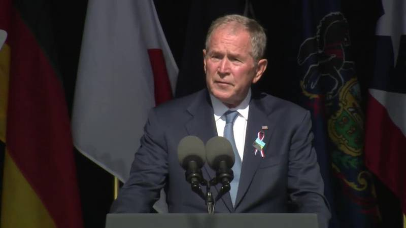 Former Pres. George W. Bush spoke at the observance ceremony held at the site of United flight...