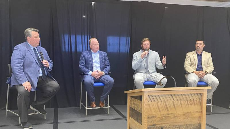 Mark Stoops and his coordinators talked with UK fans at the annual Kickoff Luncheon held...