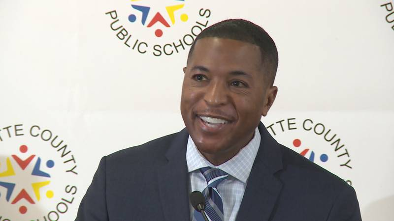 FCPS Superintendent Demetrus Liggins addresses the media on his first official day on the job.