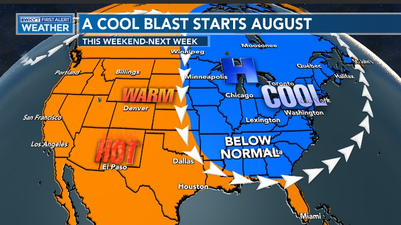 Temperatures are expected to be 10-15 degrees below average as we kick-off August