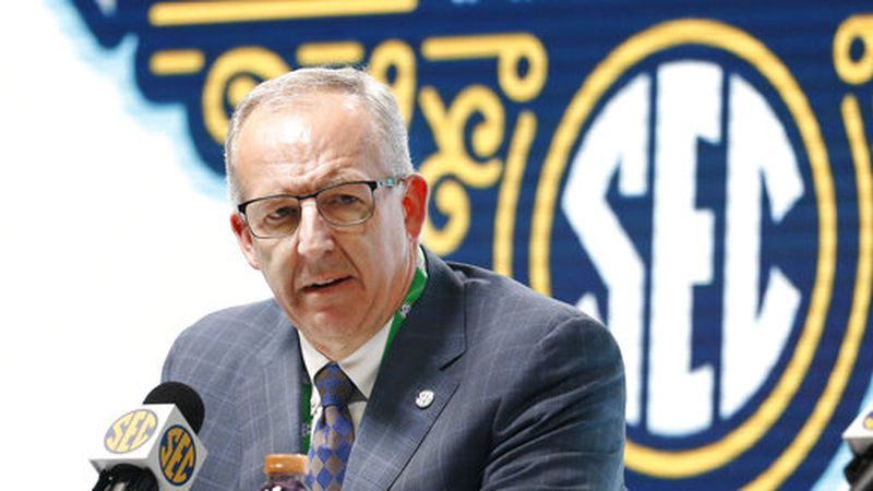 Southeastern Conference Commissioner Greg Sankey announces Wednesday, March 11, 2020, that fans...