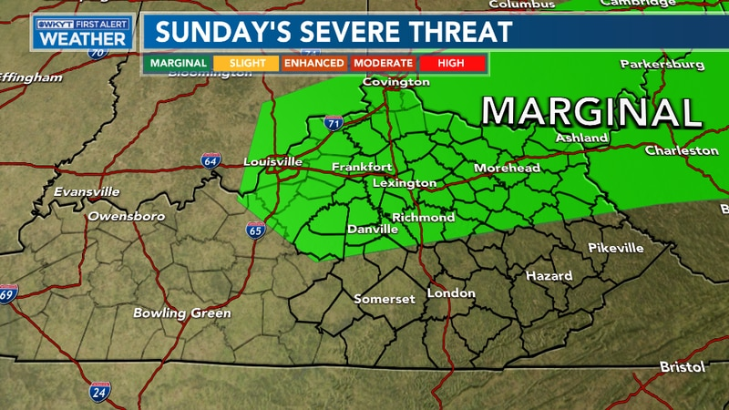 Strong to severe storms will be possible Sunday afternoon and evening with strong/damaging...