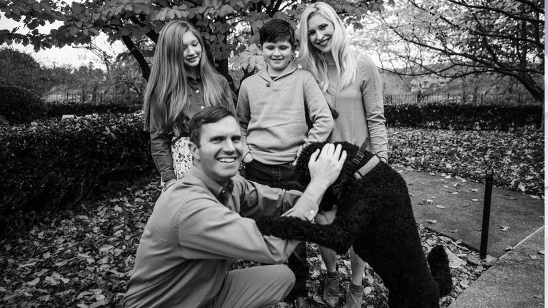 Gov. Andy Beshear and First Lady Britainy Beshear with their children, Will and Lila, and their...