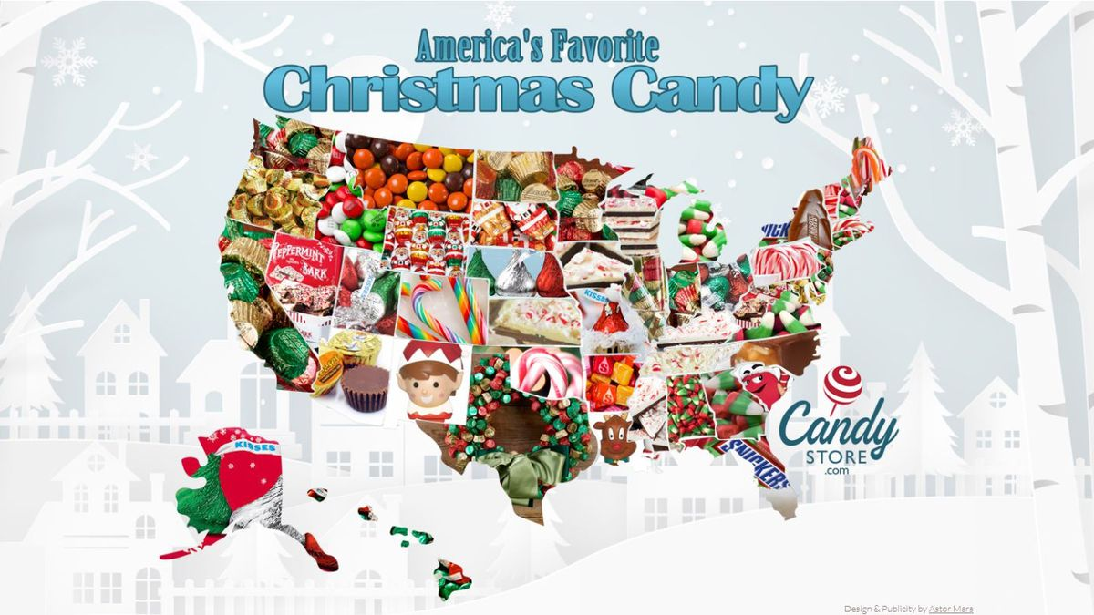 This Christmas candy map of America shows the top candy in each state during the Christmas holiday season. (CandyStore.com)