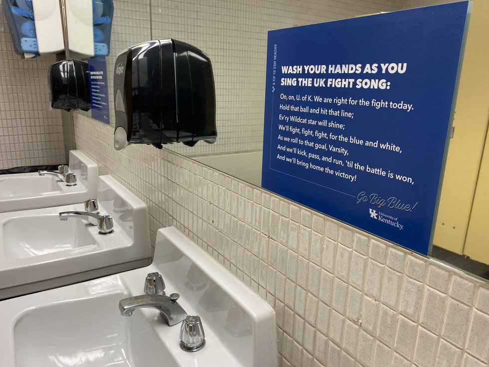 To make sure those hands are clean, signs are up encouraging you to sing the UK fight song, so...