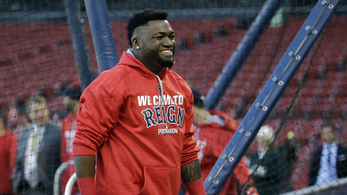 Boston Red Sox designated hitter David Ortiz leaves the cage after taking batting practice before Game 3 of baseball's American League Division Series against the Cleveland Indians, Monday, Oct. 10, 2016, in Boston. (AP Photo/Elise Amendola)