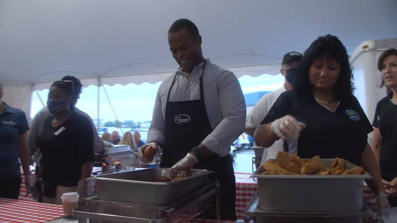Attorney General Daniel Cameron serves up meals at the 2021 Commodities Breakfast to kick off...