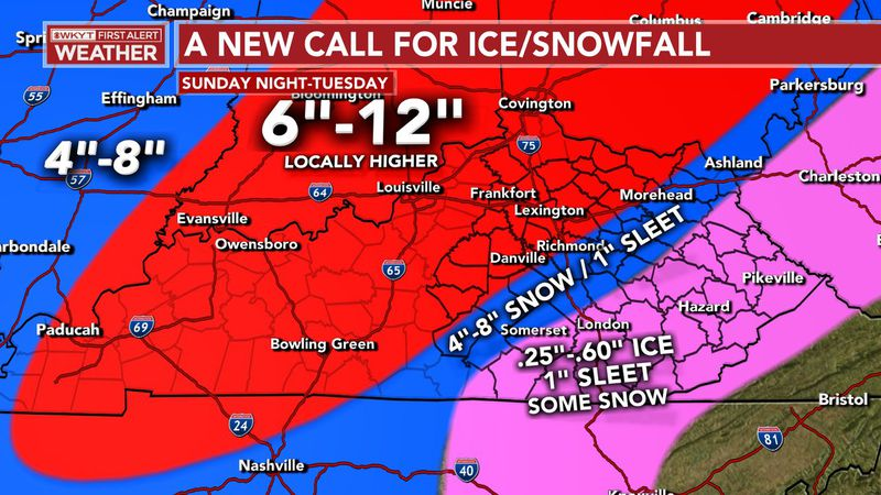 Here is an updated Call for Ice & Snowfall. We've bumped up snowfall totals across the state...