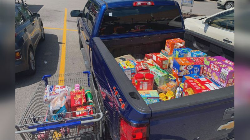 In less than 24 hours, the Veteran's Club had collected more than $500 in groceries and several...