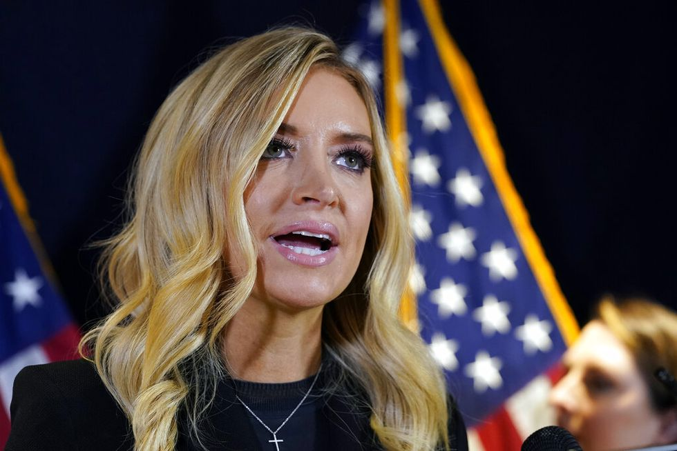 White House press secretary Kayleigh McEnany speaks during a news conference at the Republican...