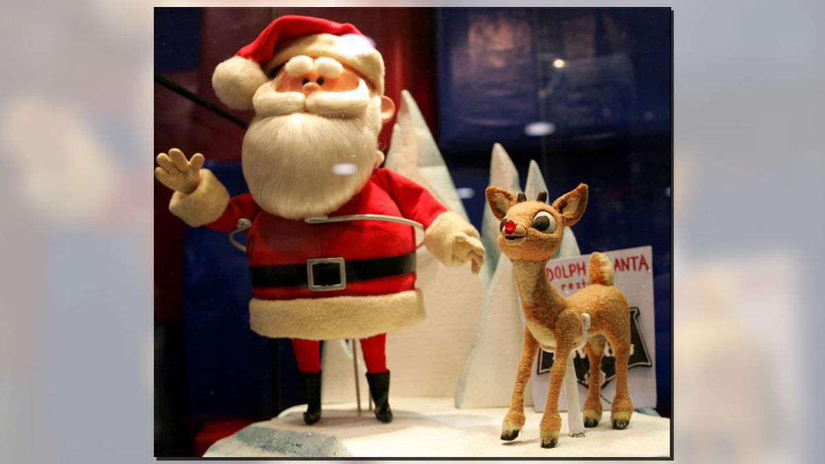 """Original Santa Claus and Rudolph puppets from the """"Rudolph the Red Nosed..."""