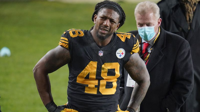 Pittsburgh Steelers outside linebacker Bud Dupree grimaces as walks on the sideline after being...