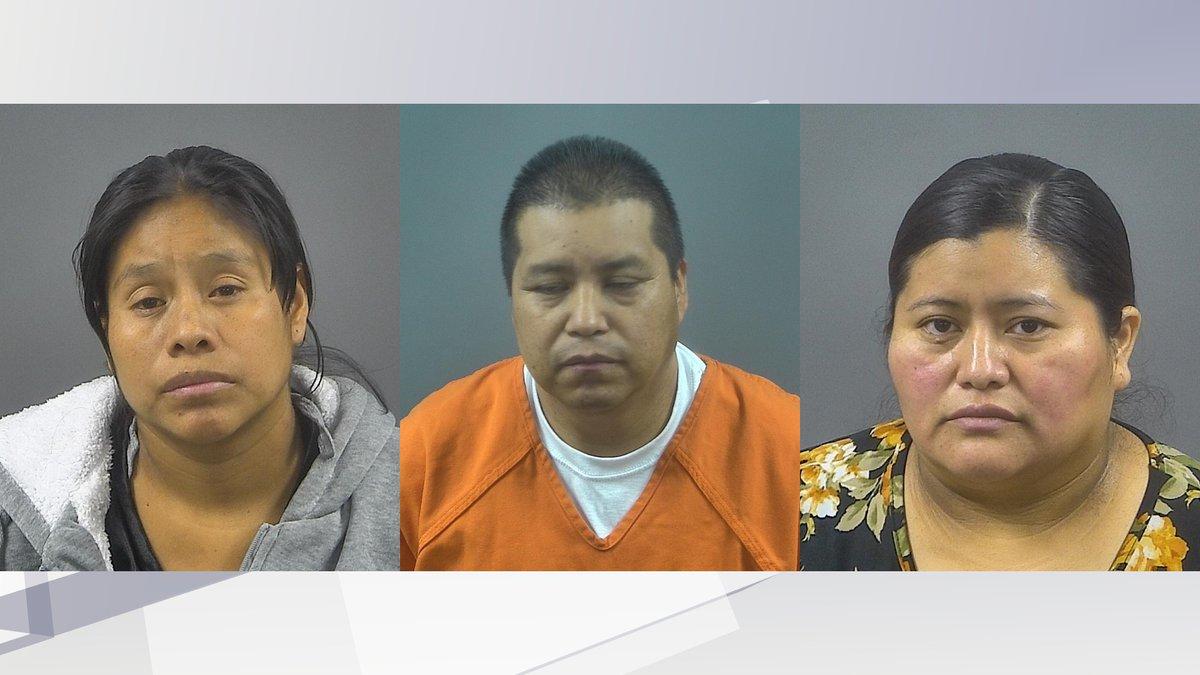(L-R) Maria Domingo Perez, Pascual Jose Manuel and Catarina Felipe Jose are all facing a felony...