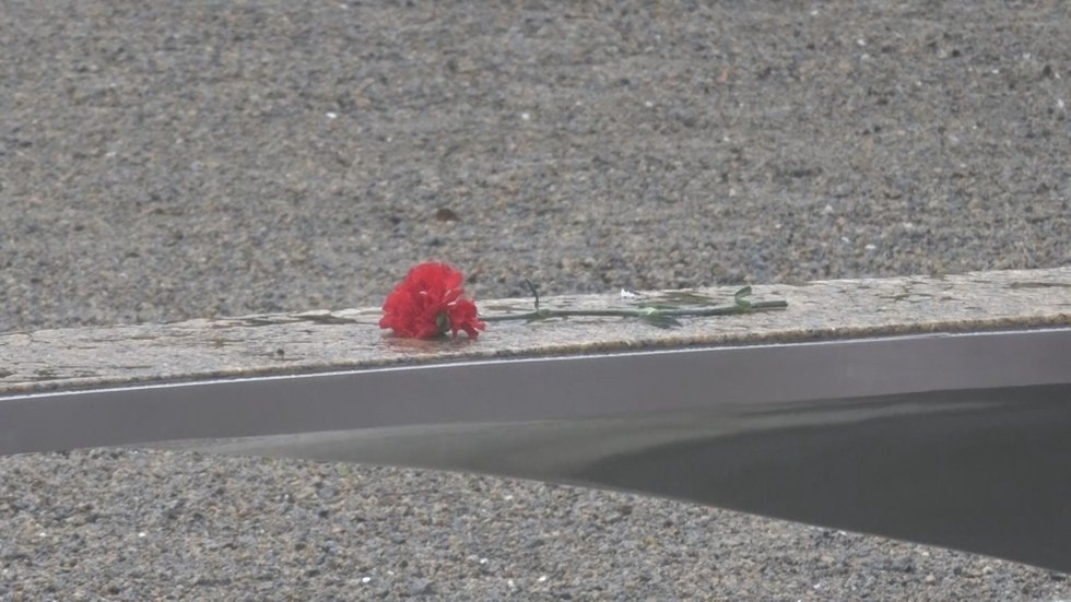 Flowers on a bench at the Pentagon 9/11 memorial.