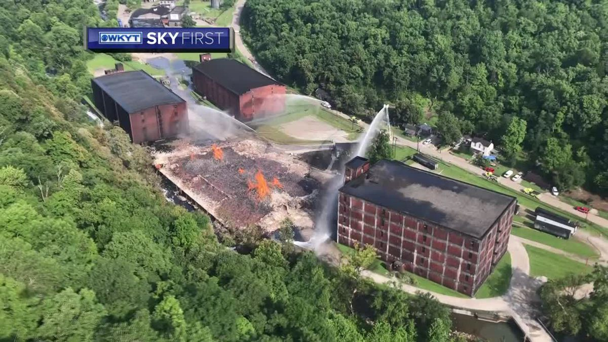 WKYT SkyFirst aerial video of the Jim Beam warehouse fire in Woodford County (Photo: WKYT)
