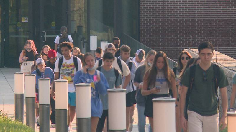 Students we spoke with said they were happy to be back to in-person school.