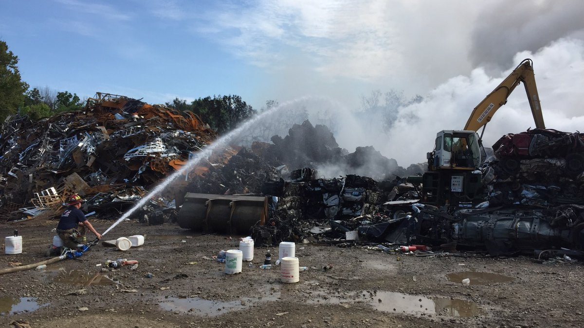 A fire at Stuff Recycling in Clark County continued to burn Sunday morning.