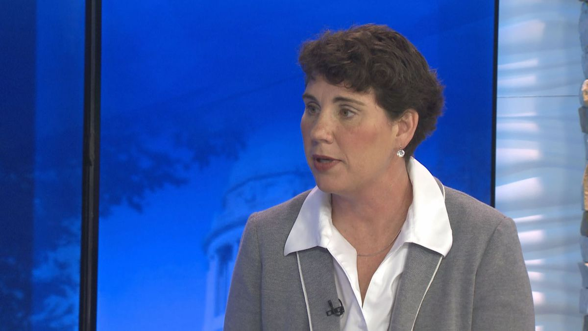 "Democrat Amy McGrath being interviewed on WKYT's ""Kentucky Newsmakers"" on May..."