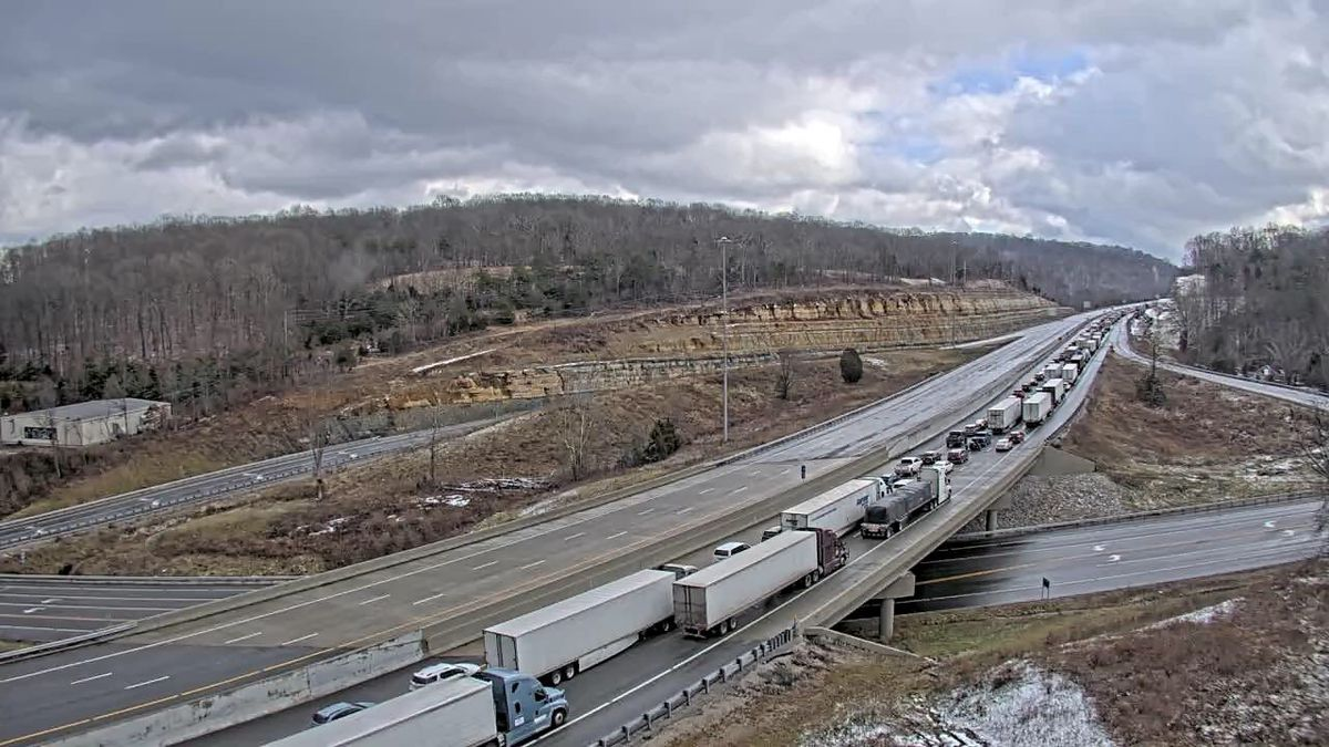 Traffic is backed up because of multiple crashes in Roackcastle County.