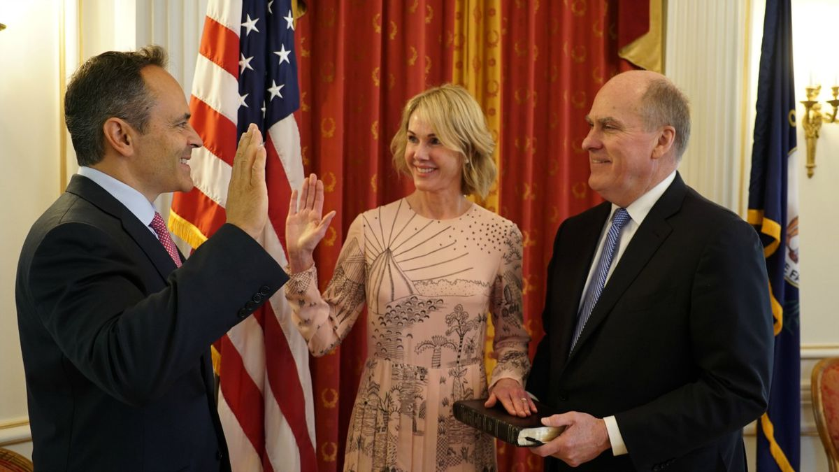Governor Matt Bevin swears in Kelly Craft as U.S. Ambassador to Canada on August 18, 2017, as...