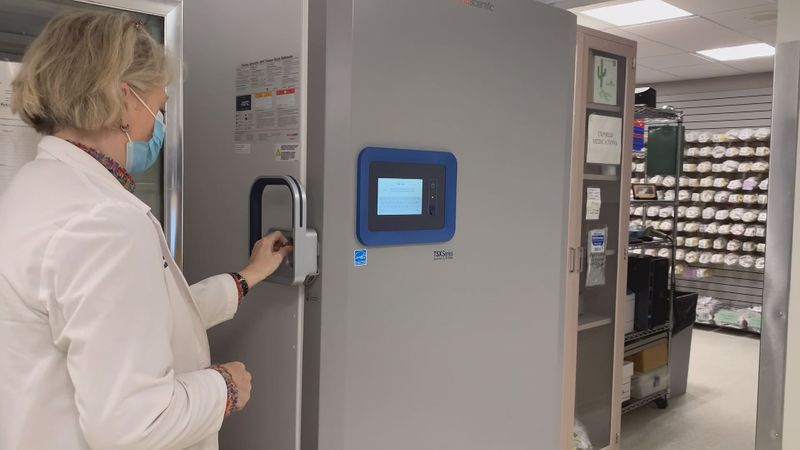 An ultra-cold freezer at CHI Saint Joseph Health in Lexington can store vials of Pfizer's...