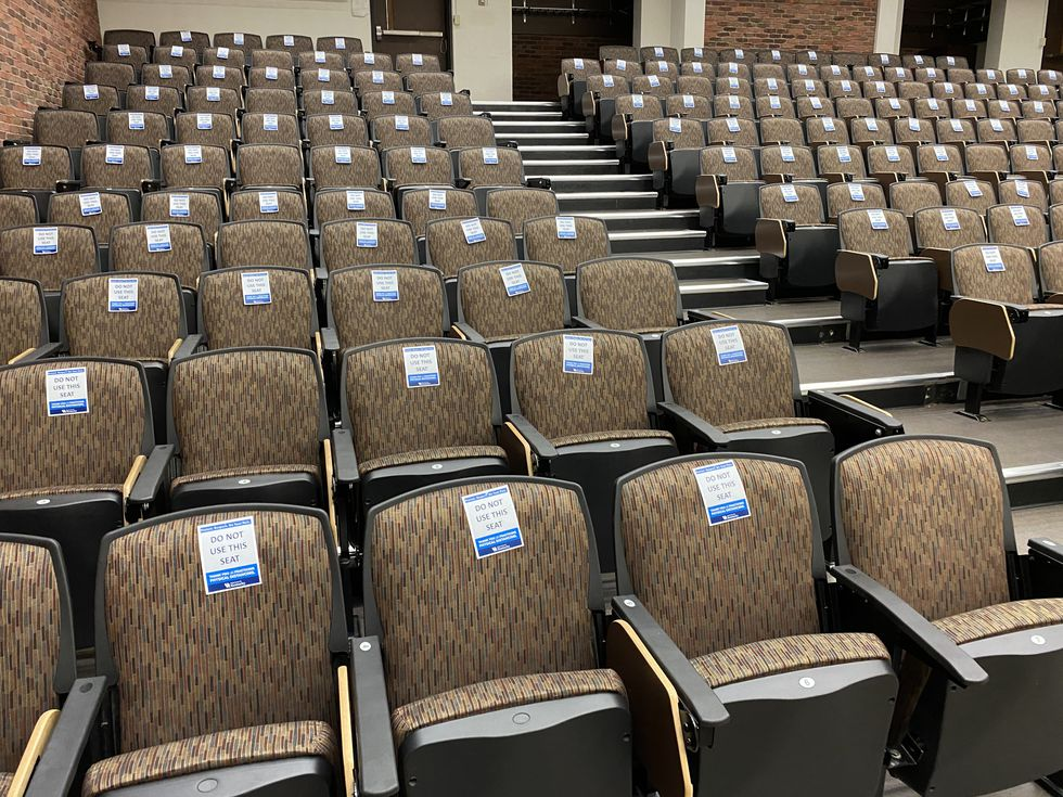 In this classroom inside White Hall, certain seats are blocked off.