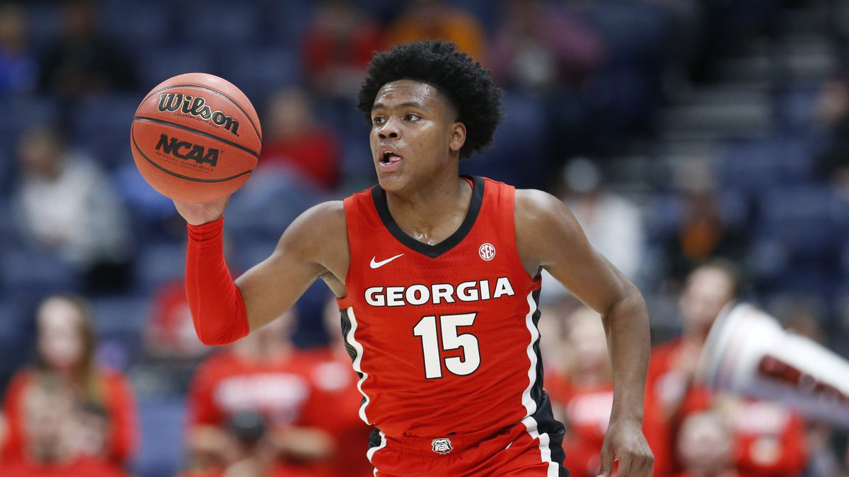 Georgia's Sahvir Wheeler plays against Mississippi in the first half of an NCAA college...
