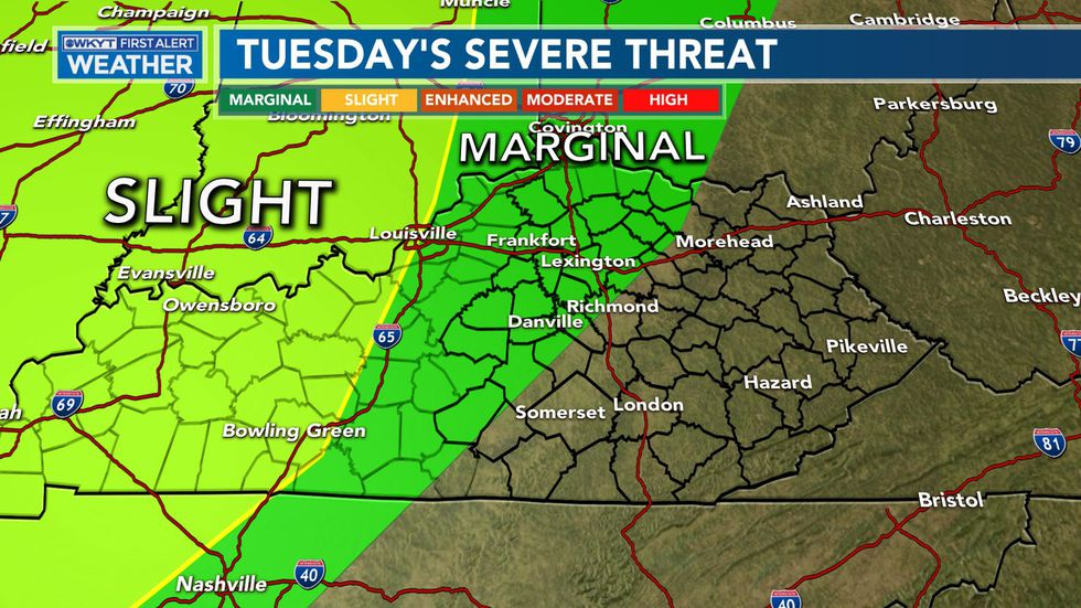 Strong to severe storms move in Tuesday afternoon and evening with strong/damaging winds, hail, and possible tornadoes